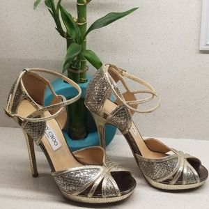 JIMMY CHOO gold glittered stilettos (size 6.5)